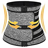 KRX Waist Trainer for Women Weight Loss Everyday wear Neoprene Sweat Band, Sauna Corset with Zipper to Lose Belly Fat, Double Girdle Shapewear Body Shaper Back Support Workout (XXL)