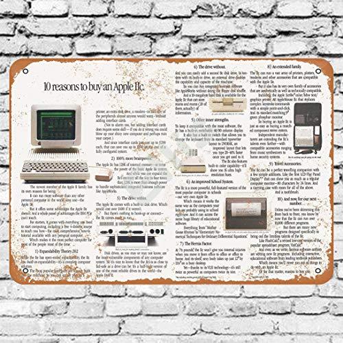 Ellis 1984 Apple Iic Computer Vintage Retro Metallo Targa Della Parete Decorazione Per Store Man Cave Bar Casa Garage