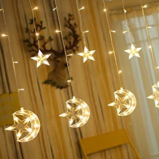 Twinkle Star 138 LED Star Moon Curtain String Lights, Window Curtain Lights with 8 Flashing Modes Decoration Christmas Wedding, Party, Home, Patio Lawn Decorations, Warm White