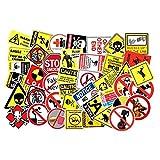 DADATU Autocollants 50pcs/lot Avertissement Avis Avis Thème PVC Stickers Kids Toys Decor for Car Laptop Trunk Guitar Bicycle Motor