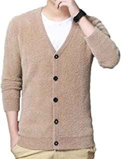 Men's Cardigan Sweater Jacket, Long Knit Jacket in Autumn and Winter, Men's Warm and Soft Fleece Jacket, Anti-Pilling/No Shrink/Washable (Color : Beige, Size : M)