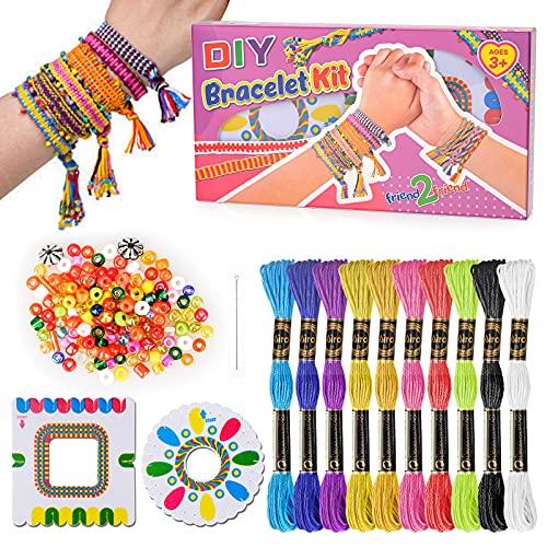Oligo Cadeaux pour Enfants Filles 7 8 9 Ans, Fille Enfants Kits d'Artisanat Jouets Meilleur Cadeau d'Amitié pour 6 7 8 Ans Filles Garçons Enfants Bricolage Art Kit de Fabrication de Bracelet Tissé