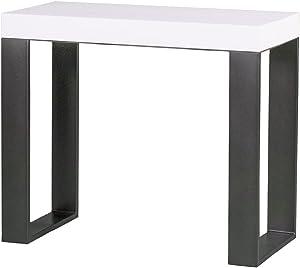 Tecno - Mesa / consola extensible fabricada en Italia, color blanco ceniza con estructura gris antracita, 14comensales, 3metros