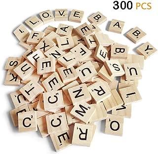 スクラブル文字300個 DIY木製ギフト装飾 アルファベットコースターとスクラブルクロスワードゲーム