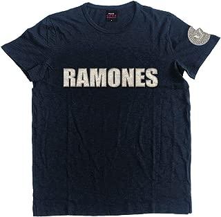 Ramones Men's Logo & Presidential Seal Vintage T-Shirt Navy