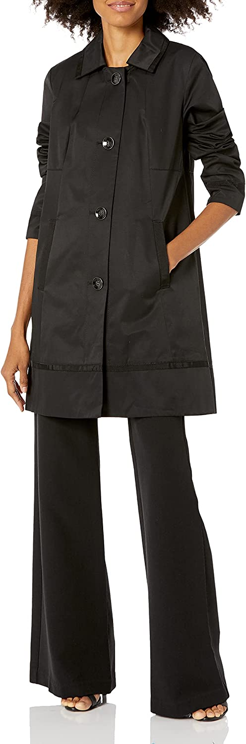 Vince Camuto Women's Quilted Barn Jacket with Faux-Leather Detail On Sleeves