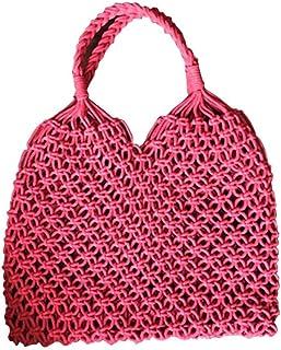 Outdoor Straw Woven Beach Bag, Braided Cotton Rope Woven Bag Hollow Mesh Handbag cross-body bag for Women