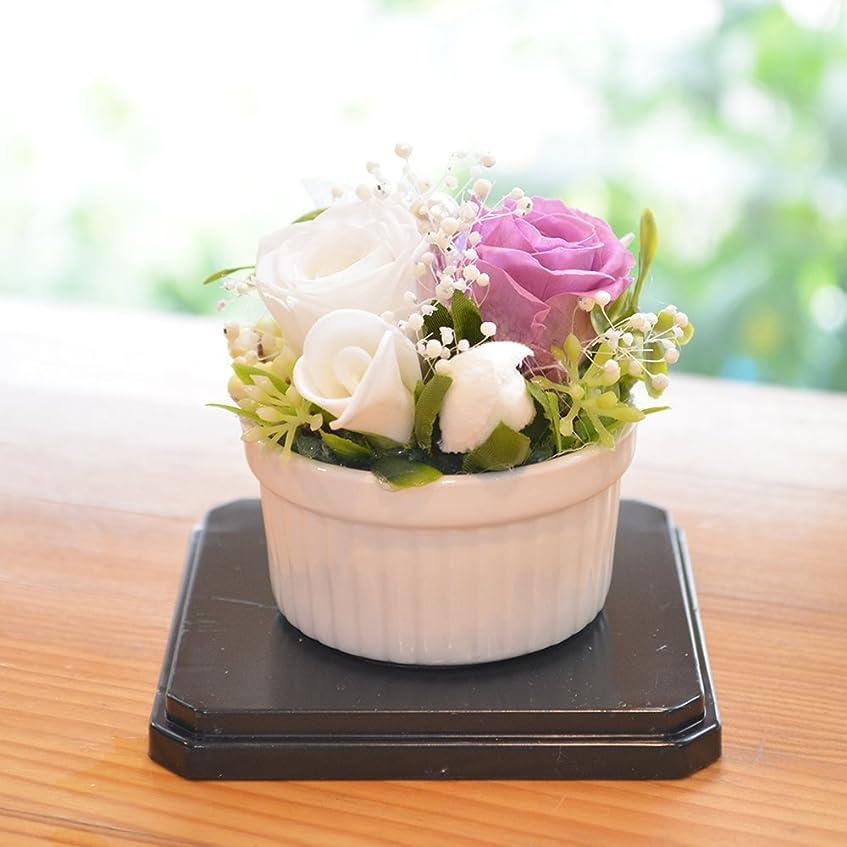 鏡栄光のゆり[florence du]プリザーブドフラワー 器おまかせ お供えミニアレンジメント (パープル)
