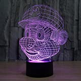 3D Lámpara óptico Illusions Luz Nocturna, CKWLED Tabla Lámpara de Escritorio 7 Colores Cambio de Botón Táctil y Cable USB para Cumpleaños, Navidad Regalos de Mujer Bebes Hombre Niños Amigas (Mario)