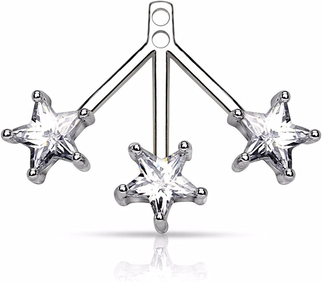 Pair of 3 Sales SALE items from new works Star CZ Fan On Add Jackets Barbell Earring Cartilage Tampa Mall
