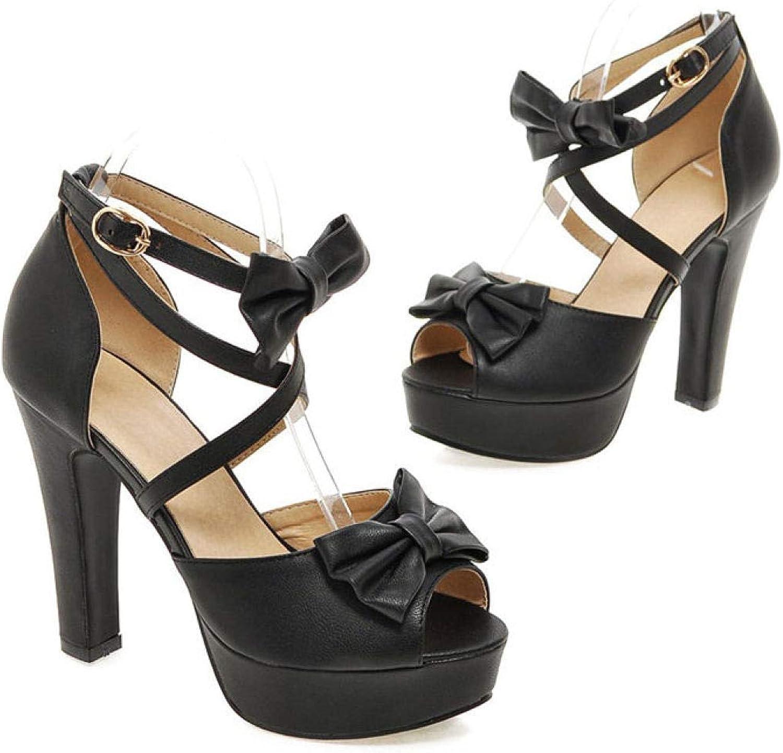 MEIZOKEN Women's Ankle Cross Strap Plaform Chunky High Heel Dress shoes Classic Peep Toe Bowtie Pump Sandals