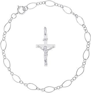 Sterling Silver Crucifix Charm Bracelet, 7