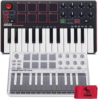 Akai MPK Mini MKii 25-Key Compact Keyboard & Pad Controller with Mini MK2 Mixware Decksaver and PitbullAudio Microfiber Cloth