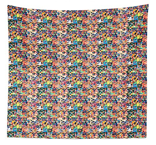 Lunarable Geometric Tapestry Queen Size, Pixel Art Pattern with Colorful Pattern Digital Composition of Abstract Shapes, Wall Hanging Bedspread Bed Cover Wall Decor, 88' X 88', Multicolor