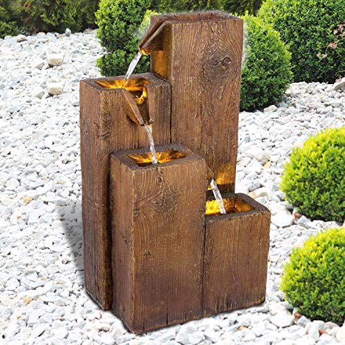 Gartenbrunnen Brunnen Zierbrunnen Zimmerbrunnen Springbrunnen Brunnen Holz-HÄUSCHEN 4-Stufig mit LED-Licht - 230V Wasserfall Wasserspiel für Garten, Gartenteich, Terrasse, Balkon Sehr Dekorativ
