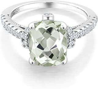 925 Sterling Silver Green Prasiolite and White Created Sapphire Women's Ring (3.00 Ct Cushion Cut, Available in size 5, 6, 7, 8, 9)