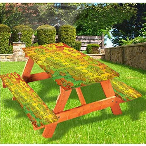 LEWIS FRANKLIN Cortina de ducha Rasta Deluxe Picnic Cubiertas de mesa, mantel de borde elástico de la isla jamaicana, 70 x 72 pulgadas, juego de 3 piezas para mesa plegable
