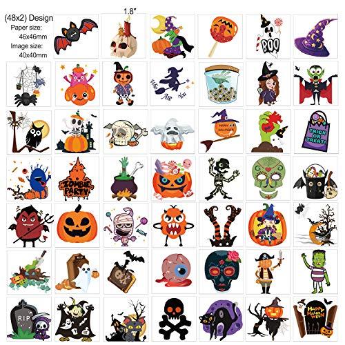 HOWAF Tatuaggi Temporanei per Bambini, 96 Fogli Halloween Tatuaggi Set, Tatuaggi Finti Adesivi Giocattoli Gadget Tattoo per Bambini Adulti Festa Compleanno Halloween Cosplay Decorazioni