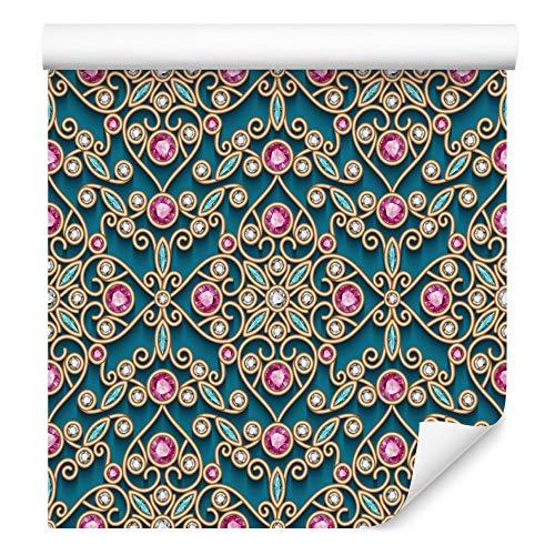 Wallepic Tapete Ornamente 1000 x 53 cm Vlies Wand Tapete Mosaik Orient Muster Ornament Vliestapete Wohnzimmer Schlafzimmer Flur Büro Moderne Wandbild
