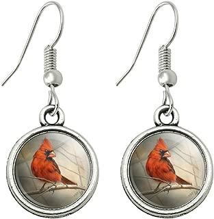 Cardinal Red Bird on Tree Branch Novelty Dangling Drop Charm Earrings