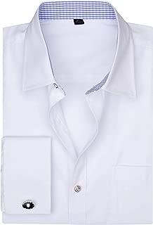 French Cuff Dress Shirt, Regular Fit Long Sleeve Men Shirts with Metal Cufflinks