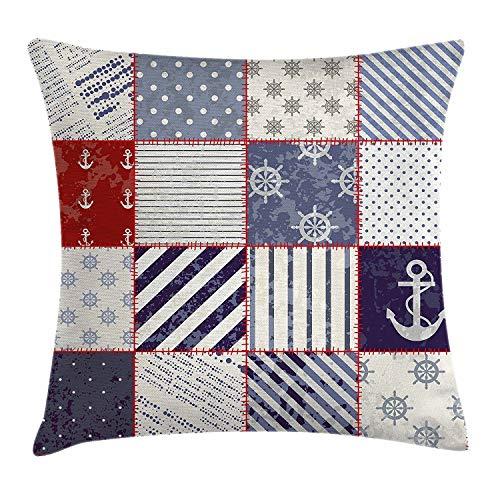 Farmhouse Decor - Funda de cojín, diseño de vida marina y náutica con nudos marineros vintage y motivos de ancla, funda de almohada decorativa cuadrada de 45,7 x 45,7 cm