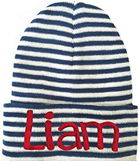 Melondipity Navy and White Personalized Newborn BOY Red Lettering - Hobo Font