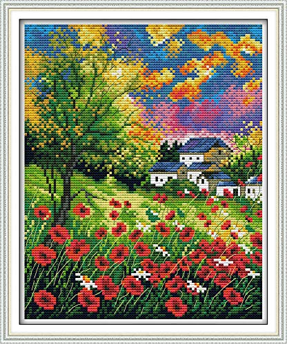 Maydear Full Range of Embroidery Starter Kits Stamped Cross Stitch Kits Beginners for DIY Embroidery (Multiple Pattern Designs)-Beautiful Flowers