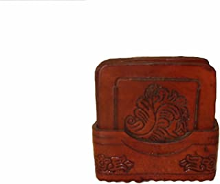 #455 Artisan Hand Tooled Leather 8 Set Coasters & Tray Wholesale Lot Peru Square