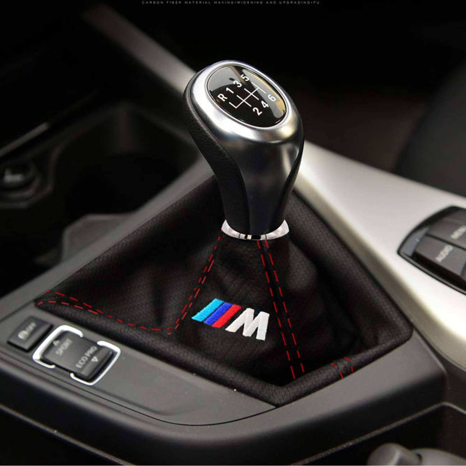 Sonaodm Carbon Fiber Leather Gear Shifter Knob Cover Car Dust Boot for BMW (Red line)