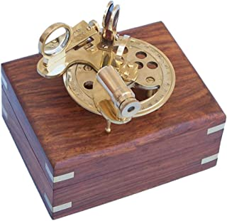 Hampton Nautical NS-0450 Brass Round Sextant with Rosewood Box 4