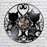 fdgdfgd De Pared de Vinilo de Reloj de Pared de Pareja de Gato de Reloj de diseño Vintage Reloj de Pared de Disco de Vinilo Hello Kitty Animal doméstico año Nuevo
