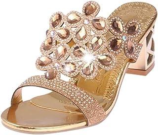 b243de7a PAOLIAN Sandalias y Chanclas para Mujer Verano 2018 Moda Noche Chanclas con  Rhinestone Fiesta Zapatos de