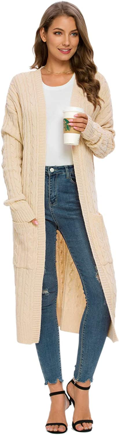 MINTLIMIT Womens Open Front Long Sleeve Cable Knit Cardigan Sweater with Pockets