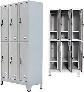 yorten Casier Metallique avec 6 Compartiments Vestiaire Armoire à Casiers Acier Style Industriel 90 x 45 x 180 cm Gris