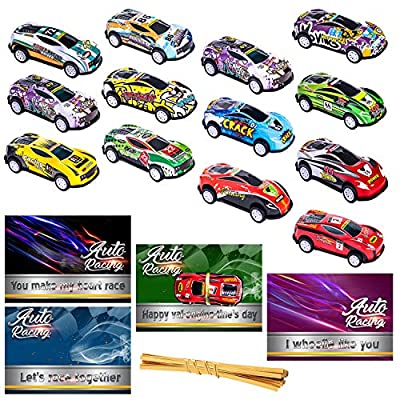 26pcs Valentines Day Gifts Cards for Kids Classroom School with Die-Cast Pull Back Mini Cars Toys Set Preschool Class Valentine Greeting Exchange Card Party Favor Toy for Boys Girls Toddlers Children