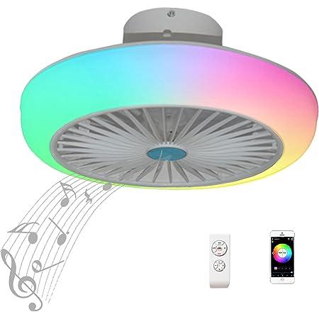 RGB Ventilateur Plafond avec Lumiere Silencieux Telecommande Enfant Plafonnier Ventilateur Design Quiet Haut Parleur Bluetooth Musique Couleur Lustre Ventilateur de Plafond avec Éclairage Lamp Chambre