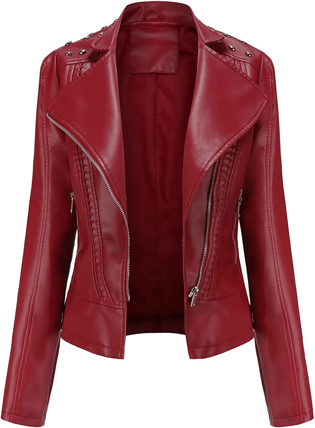 Women's Faux Leather Fashion Quilted Moto Biker Jacket Plus Size and Regular Size Long Sleeve Vintage Open Jackets