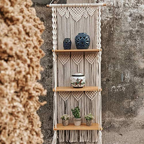 Tapisserie Regal, Böhmische Holz Seil Regal Mit Quaste, Handgemachte Gewebte Wandregale Für Hause Wandbehang Dekoration Home Storage Organizer (DREI Schichten)