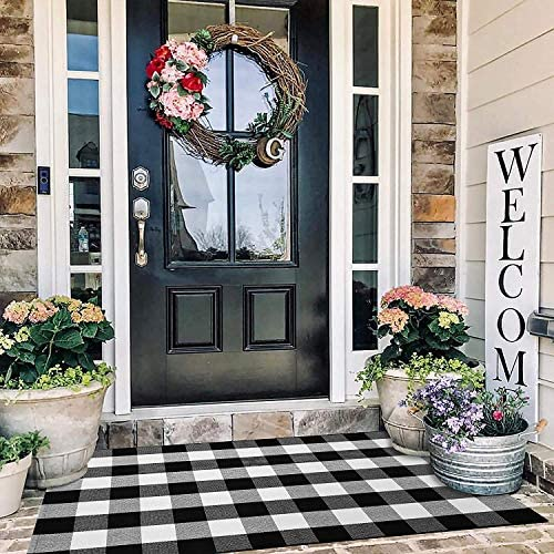 EARTHALL Buffalo Plaid Rug Outdoor 3 x 5 Cotton Hand Woven Checkered Door Mat Washable Outdoor product image