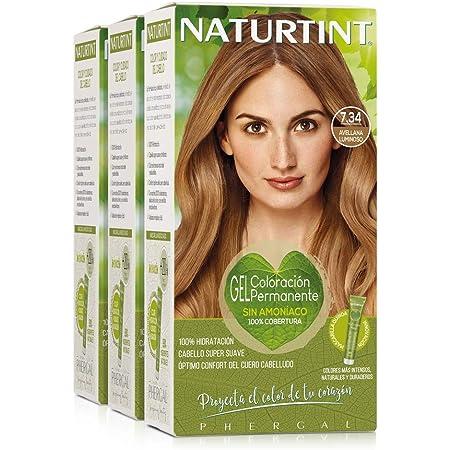 Naturtint Coloración 7.34 Avellana Luminoso. Tinte sin Amoniaco. 100% Cobertura de Canas e Hidratación. Ingredientes y Aceites Vegetales. Color ...