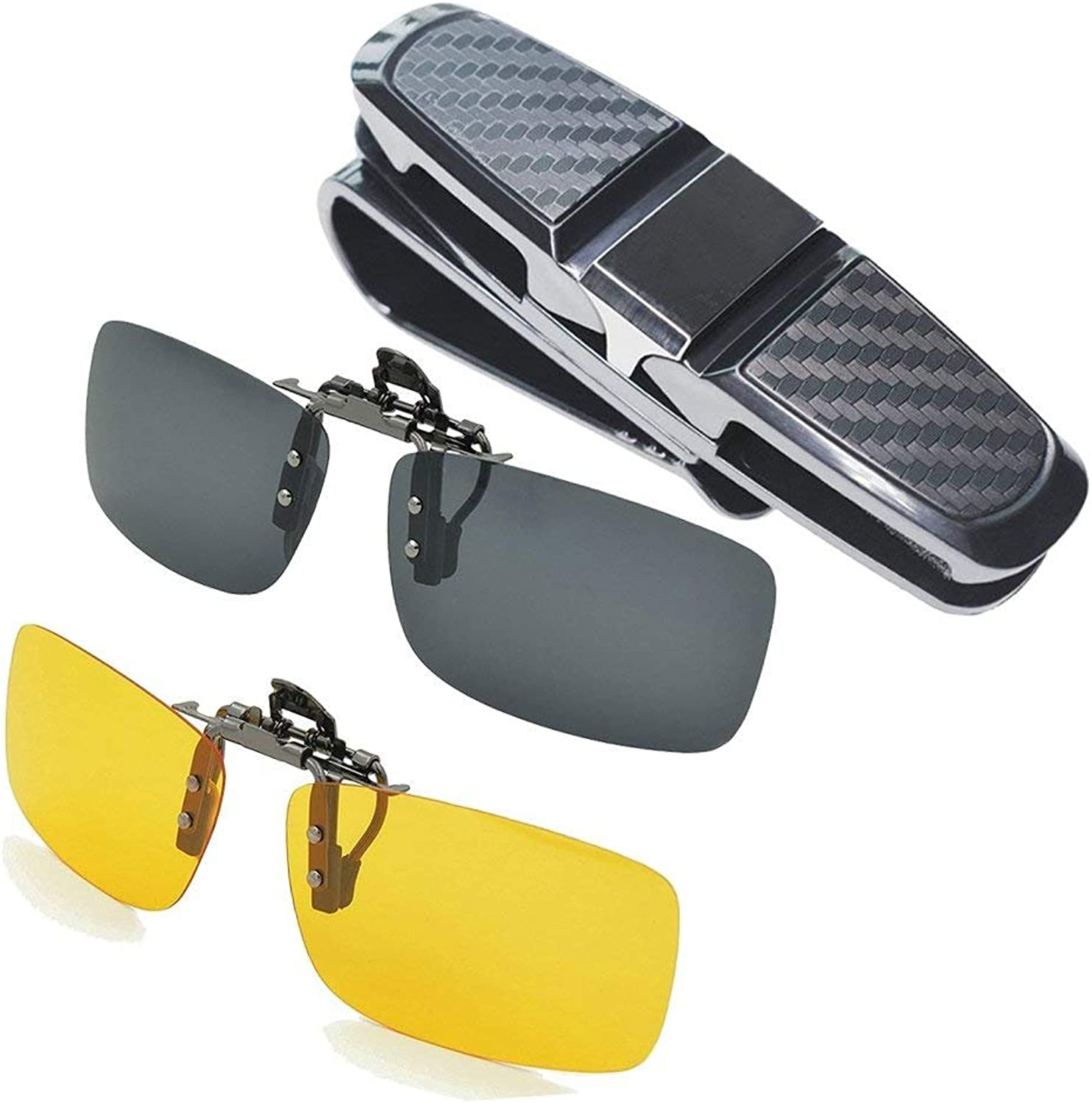 TNSO Polarized Clipon Sunglasses & Car Glasses Holder for Sun Visor by, 2Piece Unisex Polarized Clip on Glasses for Driving and More (Black and Yellow)