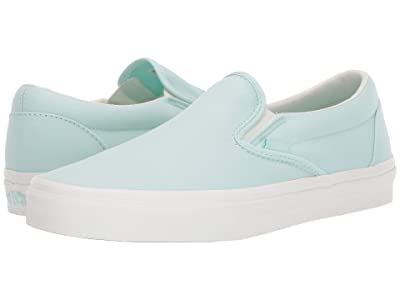 Vans Classic Slip-Ontm ((Brushed Twill) Soothing Sea/Snow White) Skate Shoes