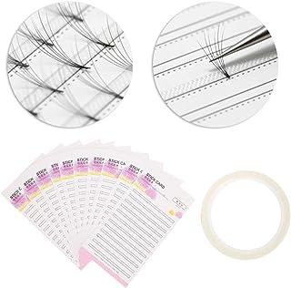 Carte de stockage d'extension de cils, carte de papier de fans de faux cils avec un ruban adhésif double face, organisateu...