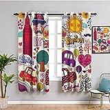 London Decor Collection - Juego de cortinas para casa de campo, diseño de símbolos británicos, diseño de bandera de Big Ben London Eye Ferris Wheel (108 x 84 pulgadas), color rosa