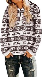e4ad891939c245 BETTERUU Women Christmas Hooded Sweatshirt Plus Size Shaggy Coat Winter  Warm Hooded Zipper Pockets Pullover