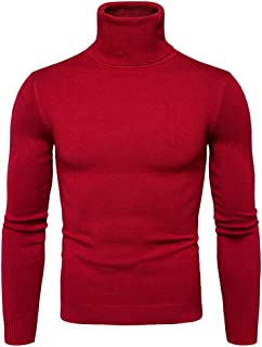 Men's Turtleneck Pullover Sweater Casual Basic Knitted Slim Fit Sweatershirts