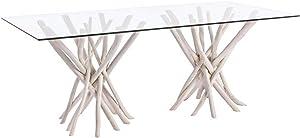 PEGANE Table rectangulaire Plateau en Verre - Dim : L 200 x P 100 x H 76 cm