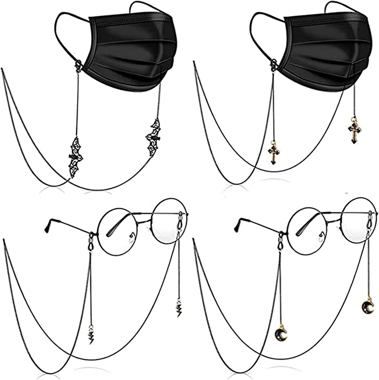 Face Mask Chains (4 Pack) - Mask Holder Chain for Women and Kids - Black Glasses Chains Sunglass Eyeglass Retainer Strap Holder