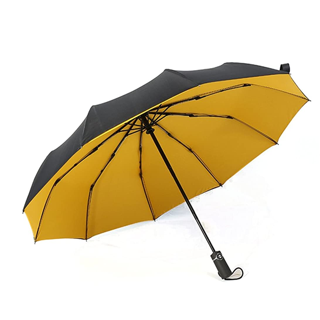 脚ワイヤーコミュニティYammi 折り畳み傘 10骨 三つ折り 自動 無地 防風 サンシェード 耐風 撥水 軽量 晴雨兼用 日傘 メンズ レディース (色 : イエロー)